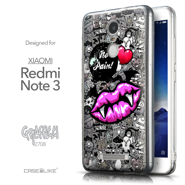 Front & Side View - CASEiLIKE Xiaomi Redmi Note 3 back cover Graffiti 2708