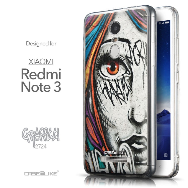 Front & Side View - CASEiLIKE Xiaomi Redmi Note 3 back cover Graffiti Girl 2724