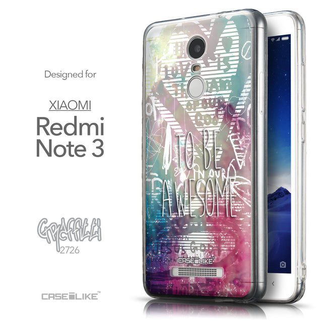 Front & Side View - CASEiLIKE Xiaomi Redmi Note 3 back cover Graffiti 2726