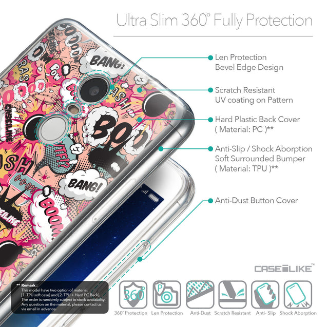 Details in English - CASEiLIKE Xiaomi Redmi Note 3 back cover Comic Captions Pink 2912