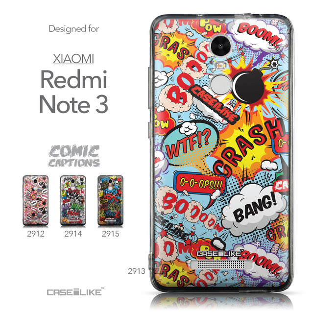 Collection - CASEiLIKE Xiaomi Redmi Note 3 back cover Comic Captions Blue 2913