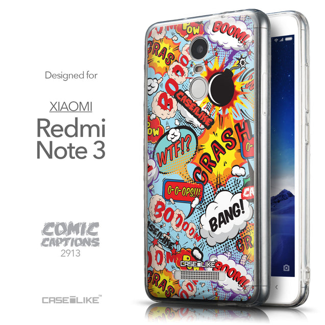 Front & Side View - CASEiLIKE Xiaomi Redmi Note 3 back cover Comic Captions Blue 2913