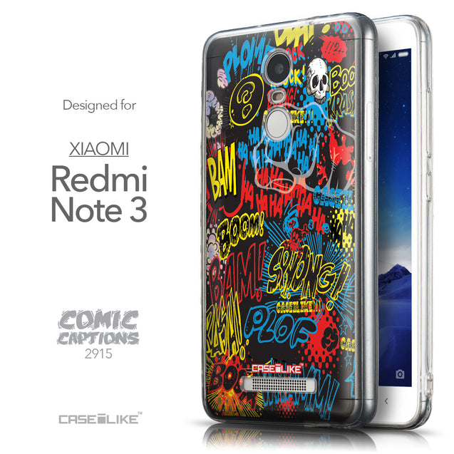 Front & Side View - CASEiLIKE Xiaomi Redmi Note 3 back cover Comic Captions Black 2915