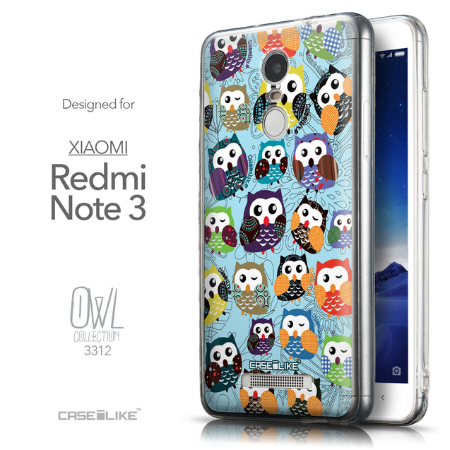 Front & Side View - CASEiLIKE Xiaomi Redmi Note 3 back cover Owl Graphic Design 3312