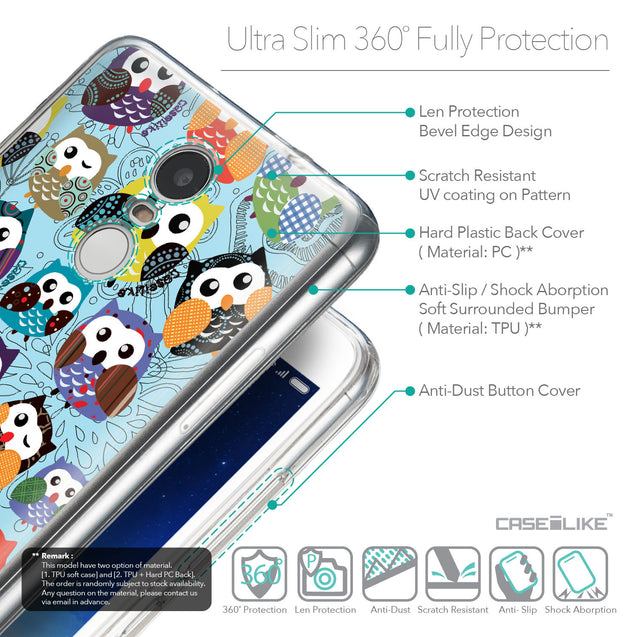 Details in English - CASEiLIKE Xiaomi Redmi Note 3 back cover Owl Graphic Design 3312