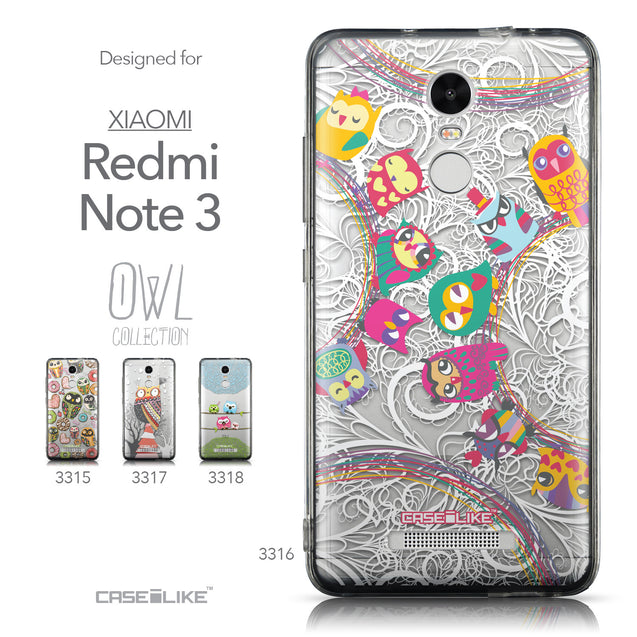 Collection - CASEiLIKE Xiaomi Redmi Note 3 back cover Owl Graphic Design 3316