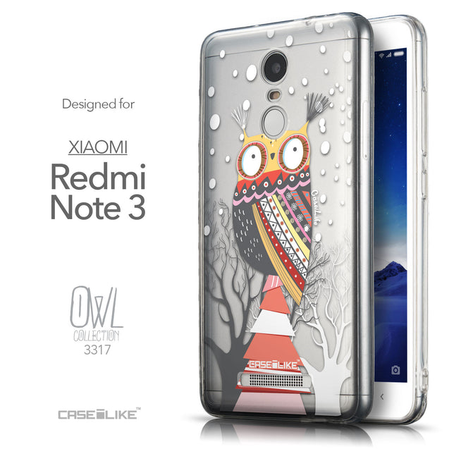 Front & Side View - CASEiLIKE Xiaomi Redmi Note 3 back cover Owl Graphic Design 3317