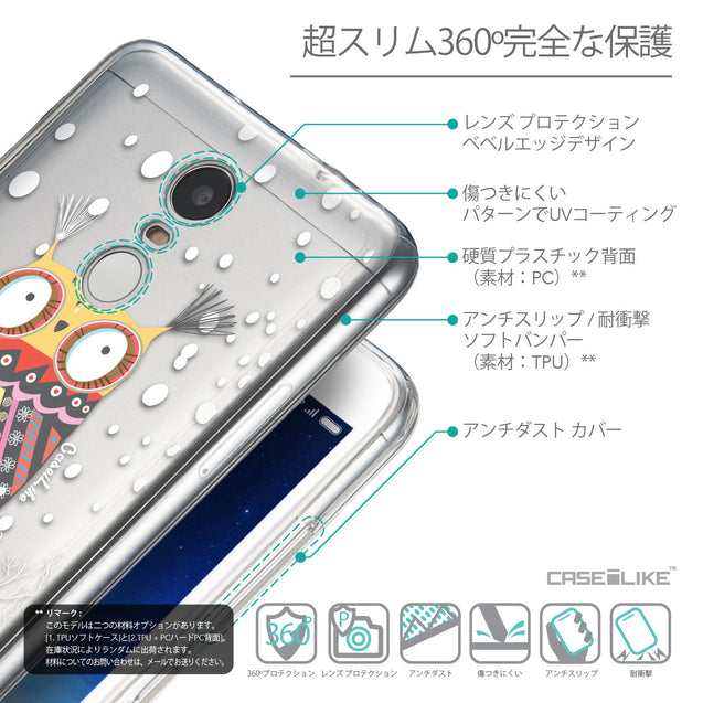 Details in Japanese - CASEiLIKE Xiaomi Redmi Note 3 back cover Owl Graphic Design 3317