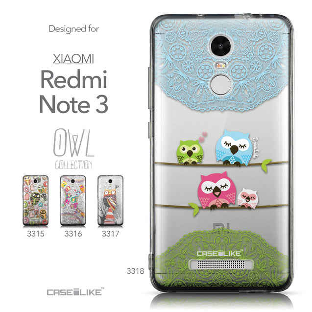 Collection - CASEiLIKE Xiaomi Redmi Note 3 back cover Owl Graphic Design 3318