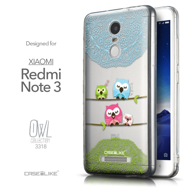 Front & Side View - CASEiLIKE Xiaomi Redmi Note 3 back cover Owl Graphic Design 3318