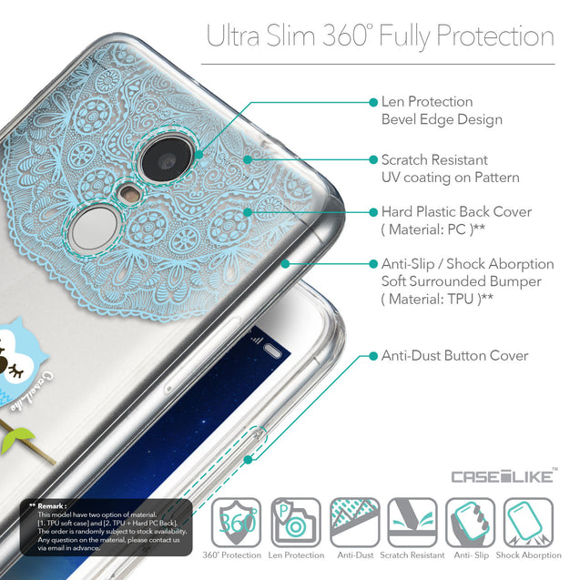 Details in English - CASEiLIKE Xiaomi Redmi Note 3 back cover Owl Graphic Design 3318