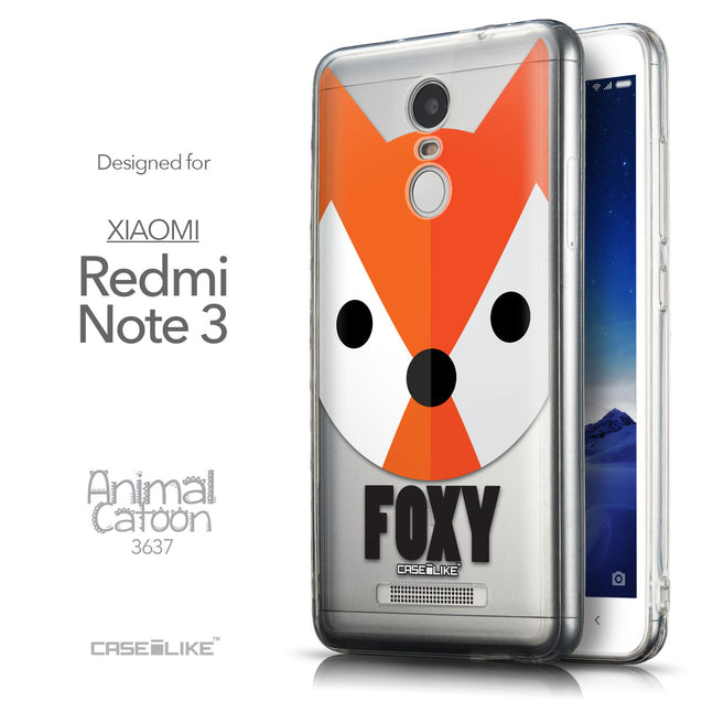 Front & Side View - CASEiLIKE Xiaomi Redmi Note 3 back cover Animal Cartoon 3637