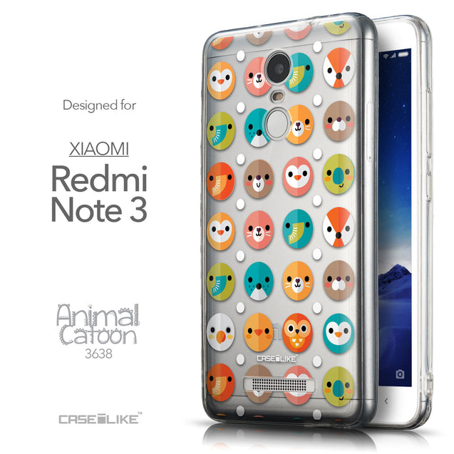Front & Side View - CASEiLIKE Xiaomi Redmi Note 3 back cover Animal Cartoon 3638