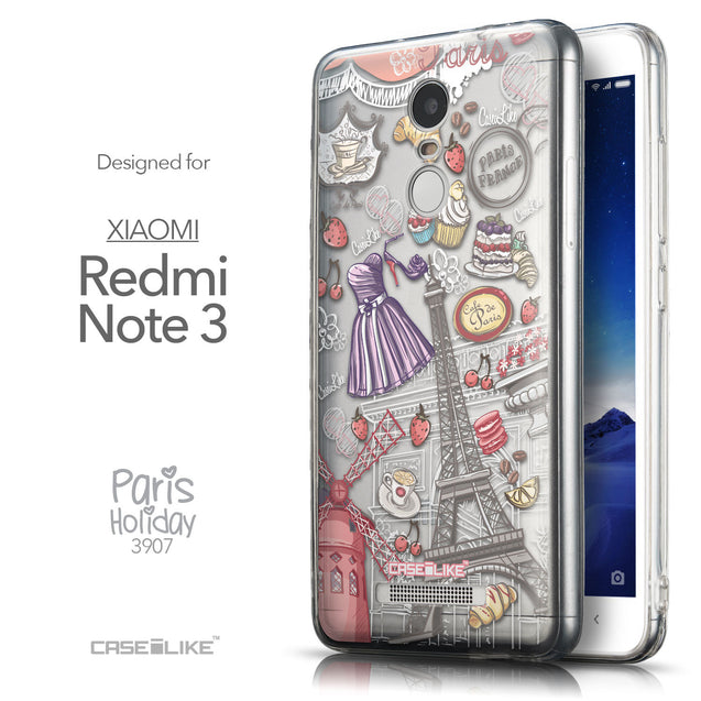 Front & Side View - CASEiLIKE Xiaomi Redmi Note 3 back cover Paris Holiday 3907