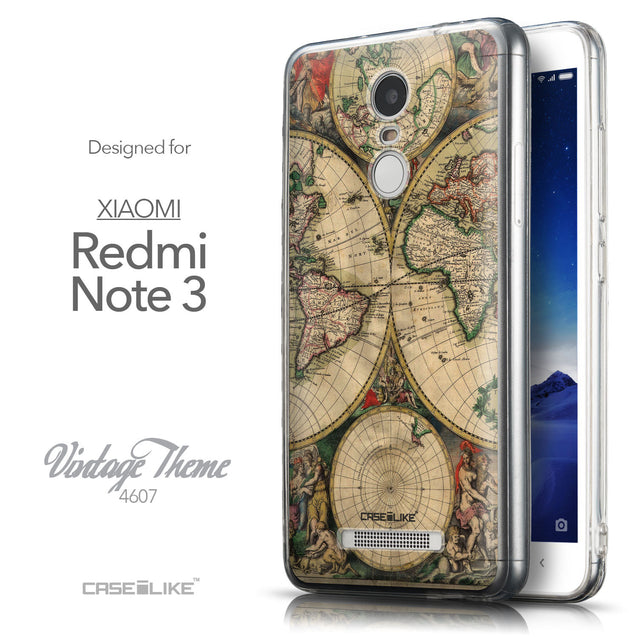 Front & Side View - CASEiLIKE Xiaomi Redmi Note 3 back cover World Map Vintage 4607