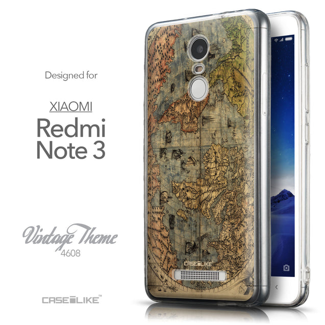 Front & Side View - CASEiLIKE Xiaomi Redmi Note 3 back cover World Map Vintage 4608