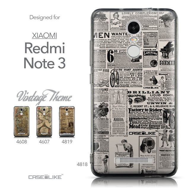 Collection - CASEiLIKE Xiaomi Redmi Note 3 back cover Vintage Newspaper Advertising 4818