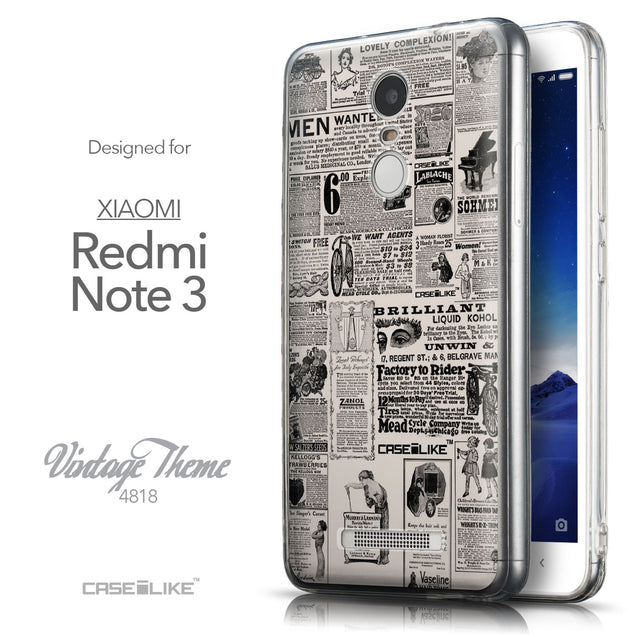 Front & Side View - CASEiLIKE Xiaomi Redmi Note 3 back cover Vintage Newspaper Advertising 4818