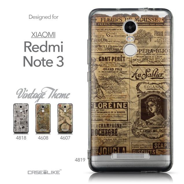 Collection - CASEiLIKE Xiaomi Redmi Note 3 back cover Vintage Newspaper Advertising 4819