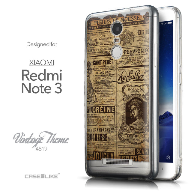 Front & Side View - CASEiLIKE Xiaomi Redmi Note 3 back cover Vintage Newspaper Advertising 4819