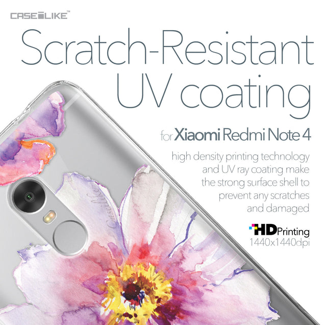 Xiaomi Redmi Note 4 case Watercolor Floral 2231 with UV-Coating Scratch-Resistant Case | CASEiLIKE.com