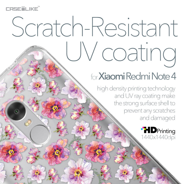 Xiaomi Redmi Note 4 case Watercolor Floral 2232 with UV-Coating Scratch-Resistant Case | CASEiLIKE.com