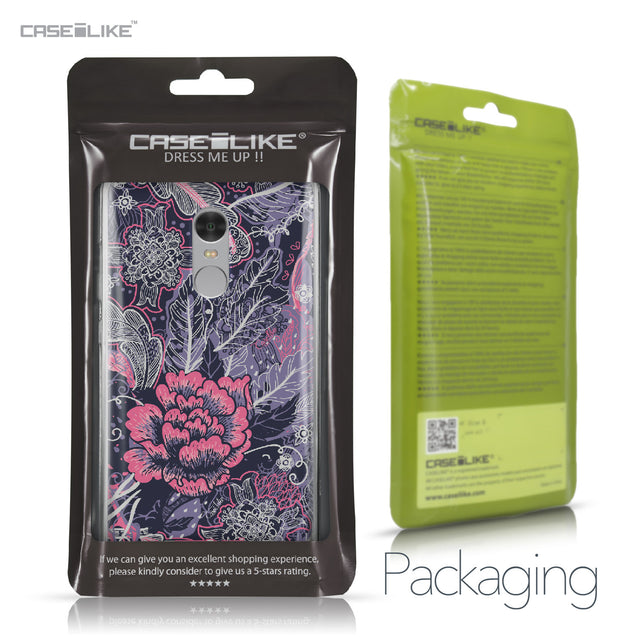Xiaomi Redmi Note 4 case Vintage Roses and Feathers Blue 2252 Retail Packaging | CASEiLIKE.com
