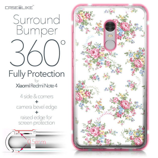 Xiaomi Redmi Note 4 case Floral Rose Classic 2260 Bumper Case Protection | CASEiLIKE.com