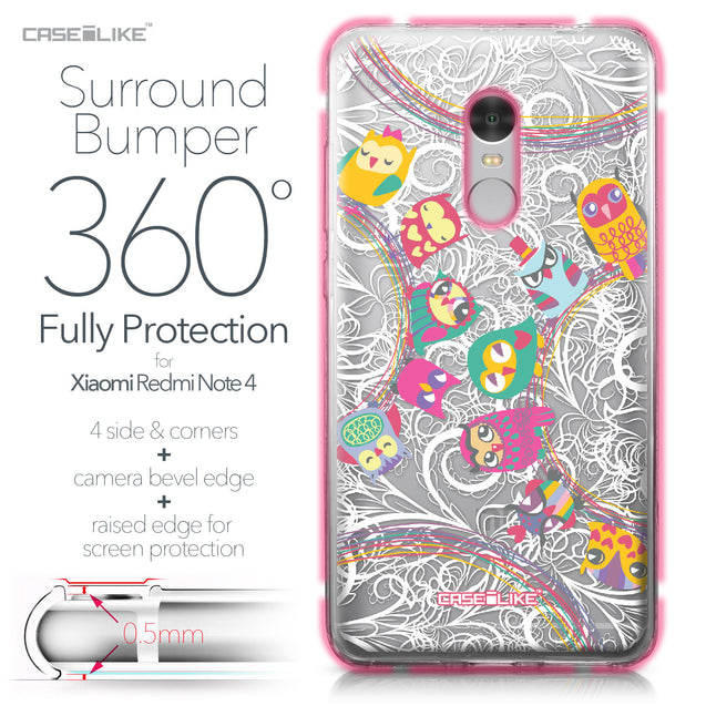 Xiaomi Redmi Note 4 case Owl Graphic Design 3316 Bumper Case Protection | CASEiLIKE.com