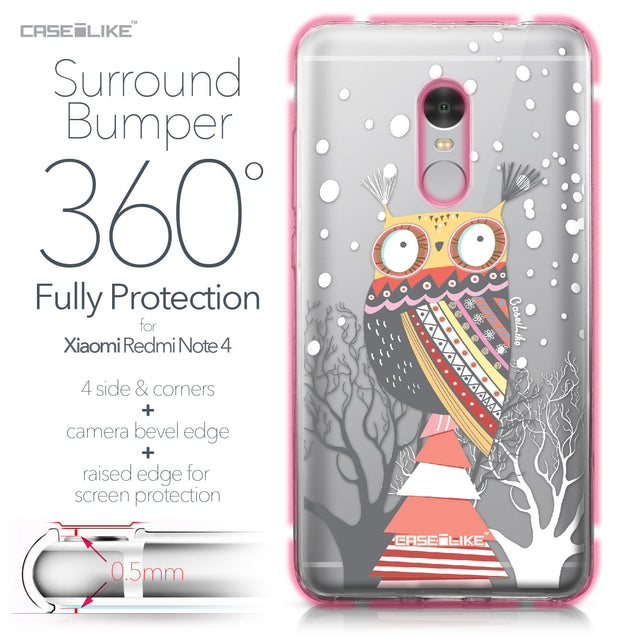Xiaomi Redmi Note 4 case Owl Graphic Design 3317 Bumper Case Protection | CASEiLIKE.com