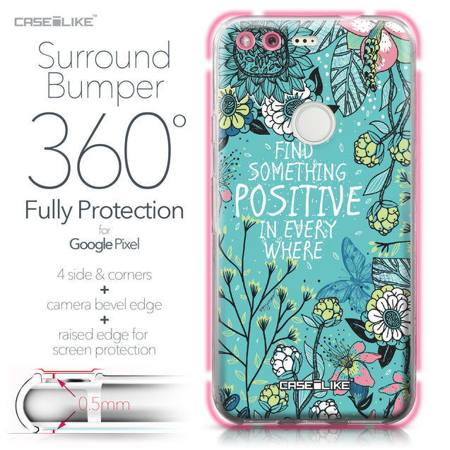 Google Pixel case Blooming Flowers Turquoise 2249 Bumper Case Protection | CASEiLIKE.com