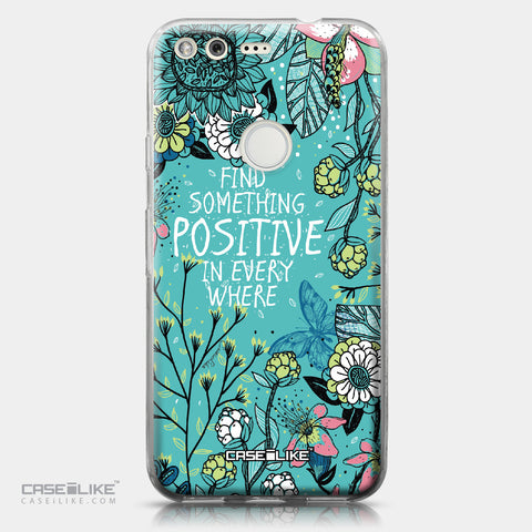 Google Pixel case Blooming Flowers Turquoise 2249 | CASEiLIKE.com