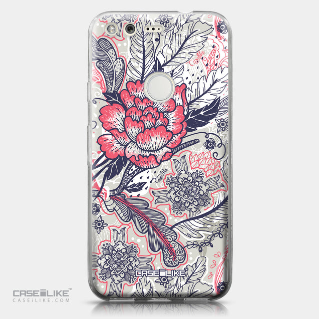 Google Pixel case Vintage Roses and Feathers Beige 2251 | CASEiLIKE.com