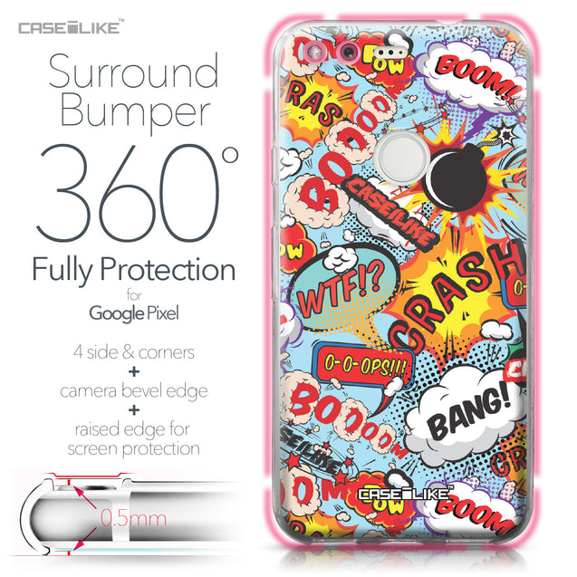 Google Pixel case Comic Captions Blue 2913 Bumper Case Protection | CASEiLIKE.com