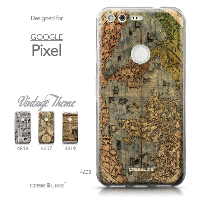 Google Pixel case World Map Vintage 4608 Collection | CASEiLIKE.com