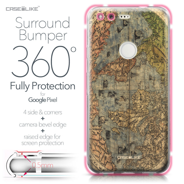 Google Pixel case World Map Vintage 4608 Bumper Case Protection | CASEiLIKE.com