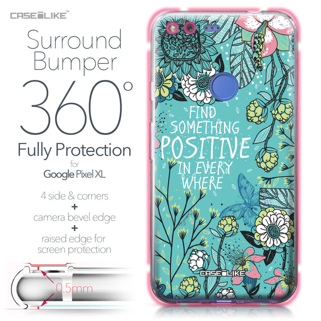 Google Pixel XL case Blooming Flowers Turquoise 2249 Bumper Case Protection | CASEiLIKE.com