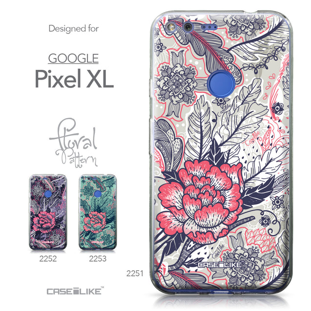 Google Pixel XL case Vintage Roses and Feathers Beige 2251 Collection | CASEiLIKE.com