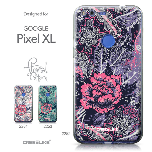 Google Pixel XL case Vintage Roses and Feathers Blue 2252 Collection | CASEiLIKE.com