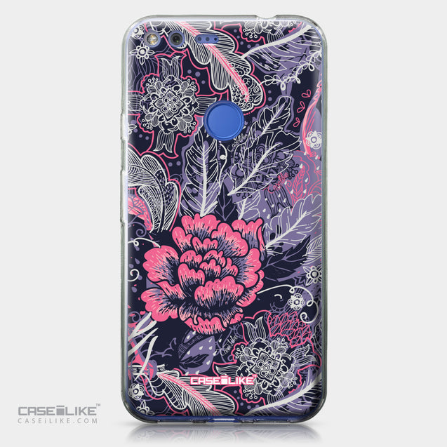Google Pixel XL case Vintage Roses and Feathers Blue 2252 | CASEiLIKE.com