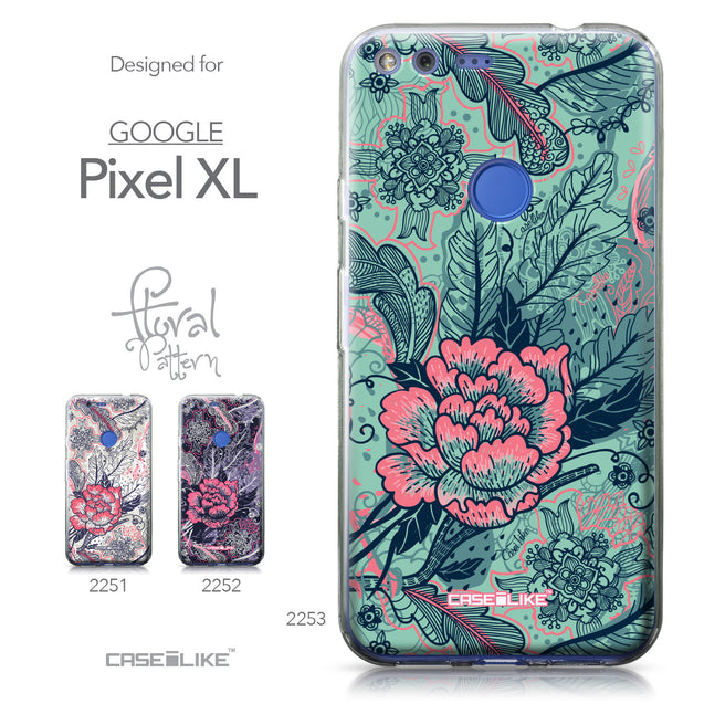 Google Pixel XL case Vintage Roses and Feathers Turquoise 2253 Collection | CASEiLIKE.com