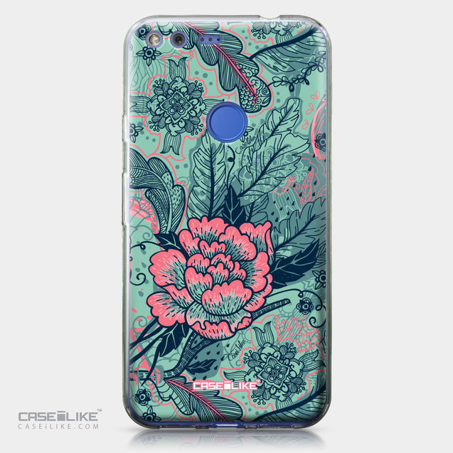 Google Pixel XL case Vintage Roses and Feathers Turquoise 2253 | CASEiLIKE.com