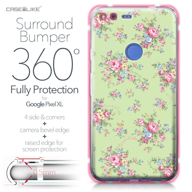 Google Pixel XL case Floral Rose Classic 2262 Bumper Case Protection | CASEiLIKE.com