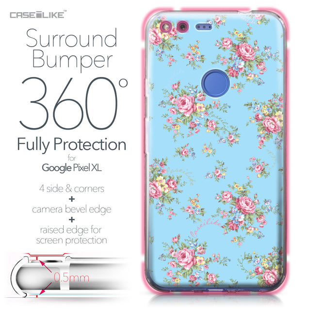 Google Pixel XL case Floral Rose Classic 2263 Bumper Case Protection | CASEiLIKE.com
