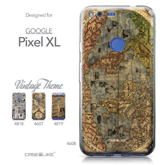 Google Pixel XL case World Map Vintage 4608 Collection | CASEiLIKE.com