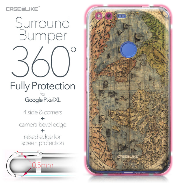 Google Pixel XL case World Map Vintage 4608 Bumper Case Protection | CASEiLIKE.com