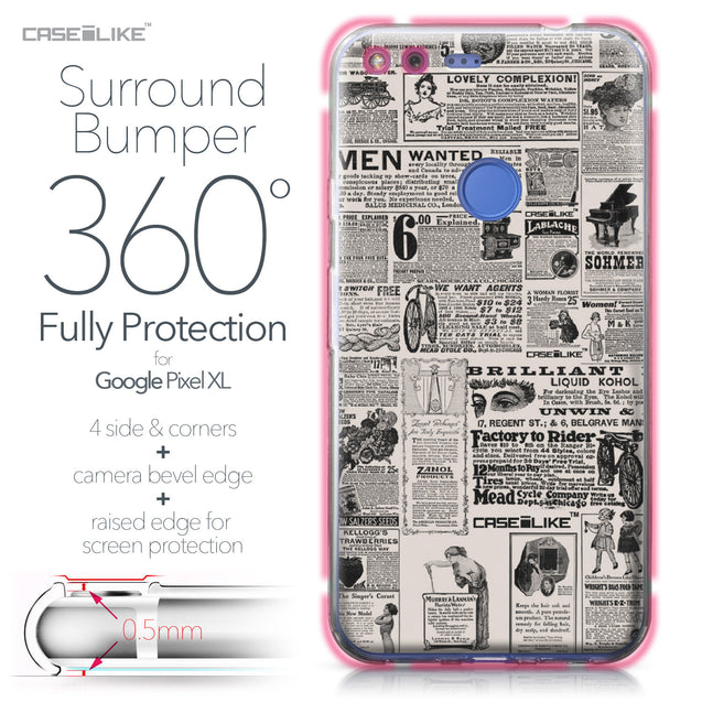 Google Pixel XL case Vintage Newspaper Advertising 4818 Bumper Case Protection | CASEiLIKE.com