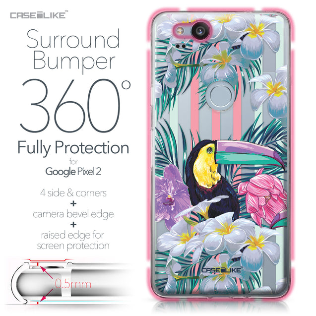 Google Pixel 2 case Tropical Floral 2240 Bumper Case Protection | CASEiLIKE.com