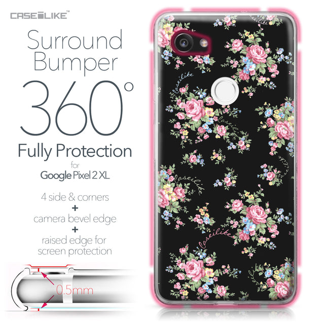 Google Pixel 2 XL case Floral Rose Classic 2261 Bumper Case Protection | CASEiLIKE.com