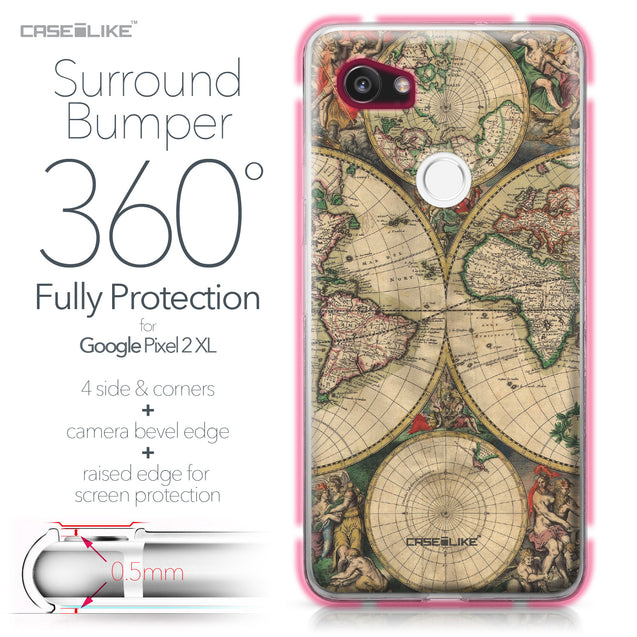 Google Pixel 2 XL case World Map Vintage 4607 Bumper Case Protection | CASEiLIKE.com